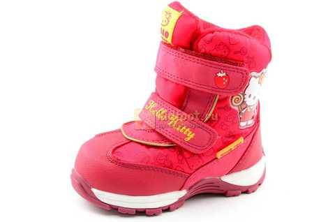 Зимние сапоги Хелло Китти (Hello Kitty) на липучках с мембраной для девочек, цвет красный. Изображение 1 из 14.