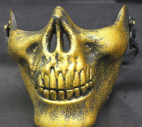 Маска Челюсть скелета в золотом цвете