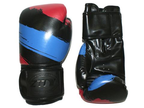 Перчатки боксёрские 6 oz: ZTTY-3G-6-Ч Цвет - чёрный с синими и красными вставками.