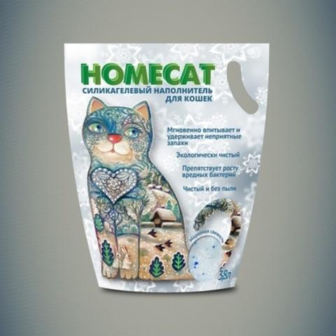 HOMECAT Морозная свежесть силикагелевый наполнитель для кошачьих туалетов с ароматом свежести 3,8л