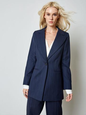 Жакет однобортный из шерсти в темно-синюю полоску