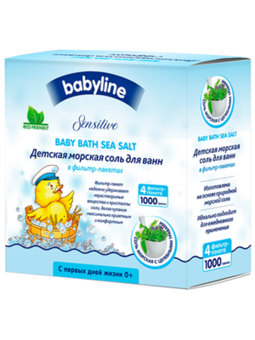 Морская соль детская с травами для ванн Babyline (1 кг)