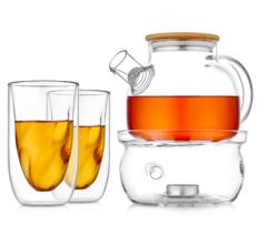 """Заварочный чайник с подогревом от свечи и рельефными стаканами - набор """"Бамбук S"""""""