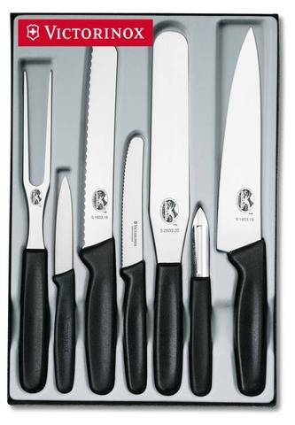 Набор Victorinox кухонный Standart, 7 предметов, черный, подар.коробка