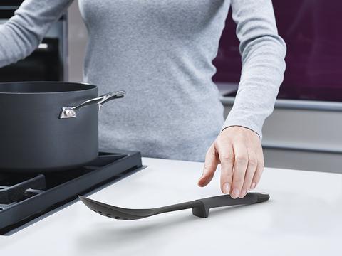 Набор из 4 кухонных инструментов elevate с щипцами без подставки серый