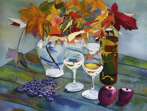 Алмазная Мозаика 5D 40x50 Осенний натюрморт с вином