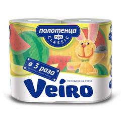 Полотенца бумажные Veiro 2-слойные белые 2 рулона по 27.5 метров