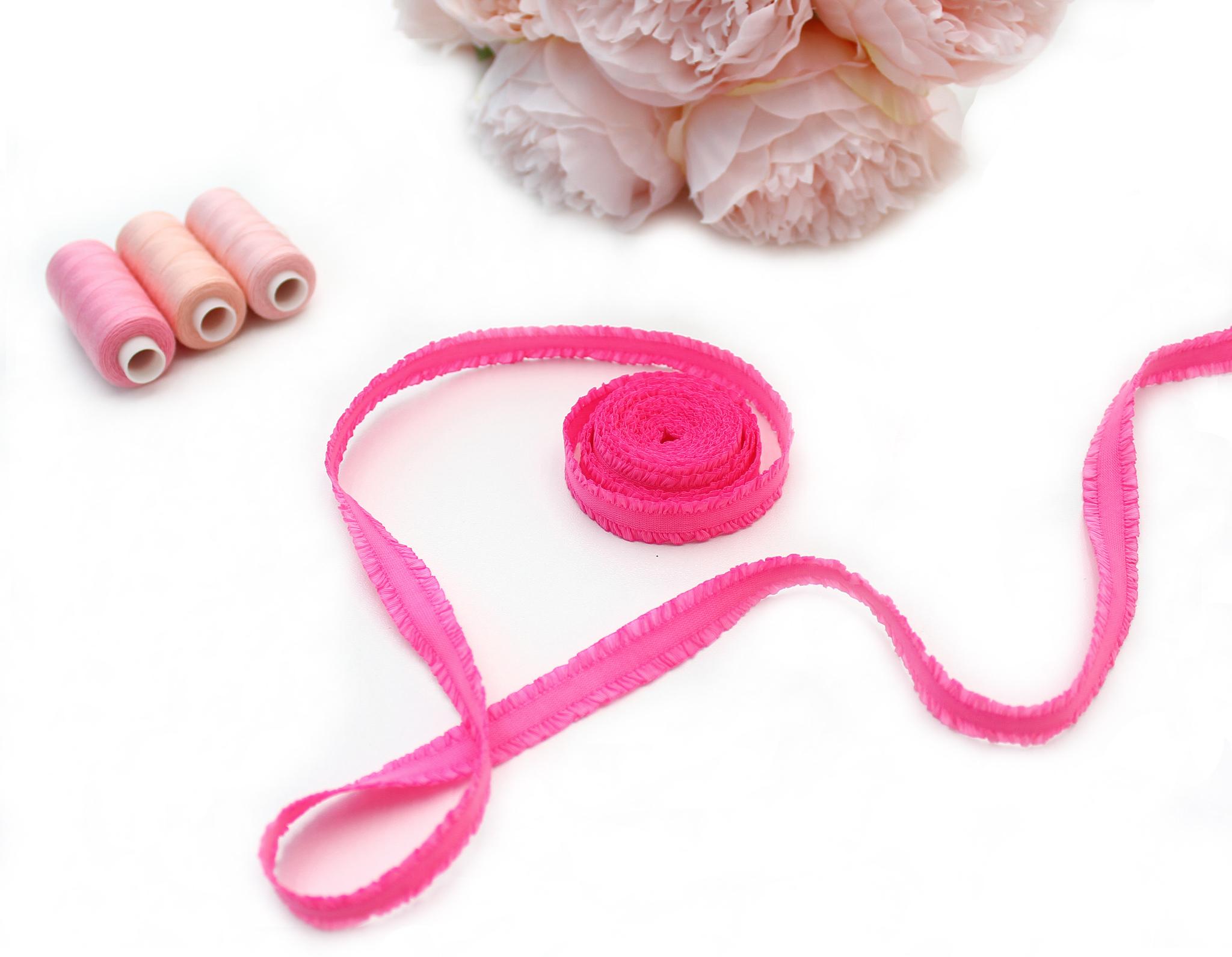 Кружевная резинка,13 мм,ярко-розовый