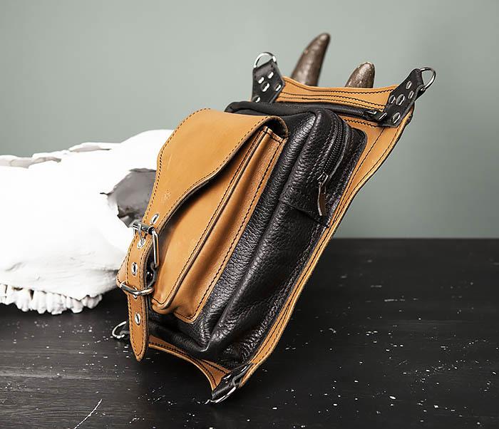 BAG369-6 Крутая мужская сумка на бедро из натуральной кожи, ручная работа фото 03