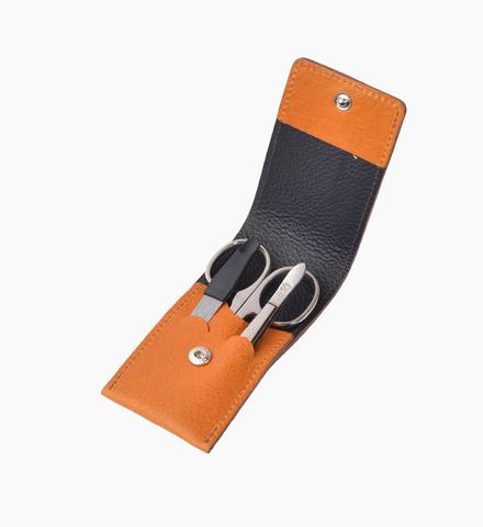Маникюрный набор Dovo LE, 3 предмета, кожаный футляр (вол), цвет коричневый