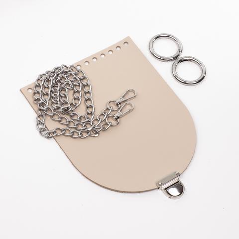 """Комплект для сумочки Орео """"Кремовый"""" Цепочка и замок """"Маленький литой"""""""