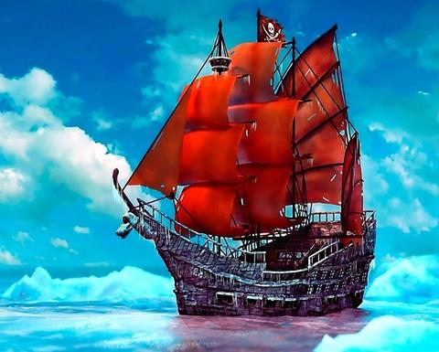 Алмазная Мозаика 5D 40x50 Пиратский корабль с красными парусами