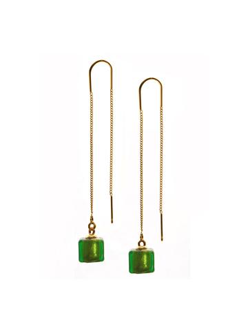 Серьги из муранского стекла на цепочке с бусиной Long Cubo Emerald