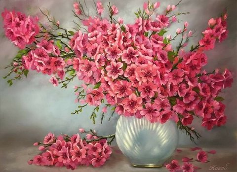 Алмазная Мозаика 20x30 Букет розовых цветов в жемчужной вазе (арт. JS24649 )