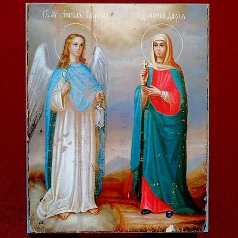 Икона святая Дарья и Архангел Гавриил на дереве на левкасе мастерская Иконный Дом