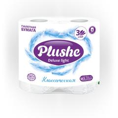 """Туалетная бумага """"Plushe Deluxe Light"""" Классик 3сл 4шт"""