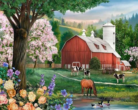 Алмазная Мозаика 5D 40x50 Ферма с животными