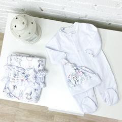 Летний комплект «Зайчишка» с поясом-бантом, белый комбинезон