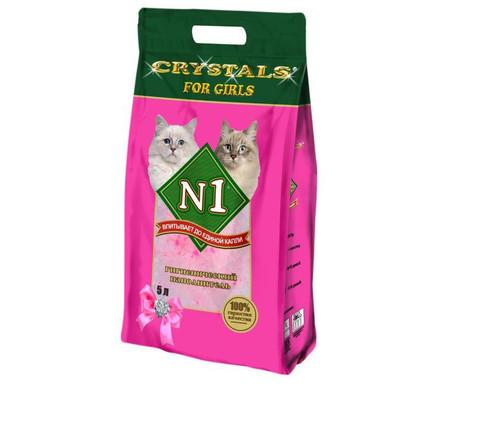 Впитывающий силикагелевый наполнитель N1 Crystals For Girls 5 л