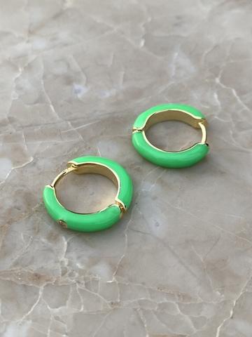 Серьги конго из позолоченного серебра с зеленой эмалью