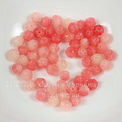 Бусина Коралл (искусств., тониров.), резной цветок, цвет - розовый, 8 мм