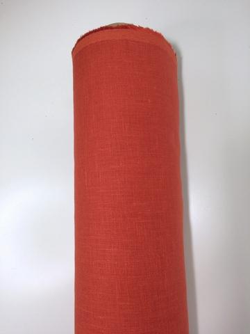 Лен костюмный 100% Кирпично-красный