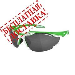 """Очки LONGUS """"BLADE"""" зелёно/белая оправа/ дымчатые + прозрачные линзы"""