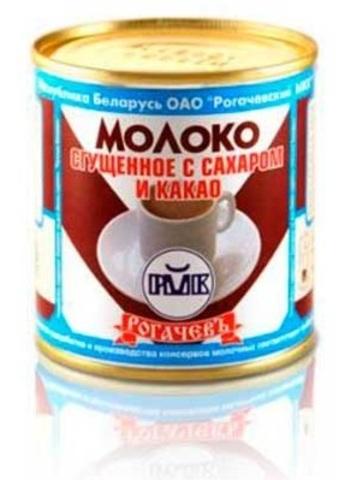 Молоко сгущенное с сахаром и какао 7,5% 380г. ж/б Рогачёв