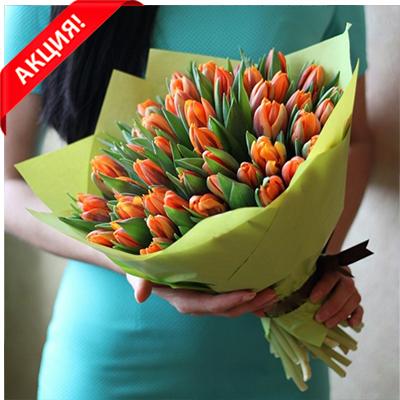 Букет 49 оранжевых тюльпанов