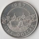 K8705, 1987, Бермуды Бермудские острова, 1 доллар 50 лет авиации Самолет-амфибия