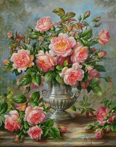 Алмазная Мозаика 40x50 Розовые цветы с зеленью в серебрянной вазе