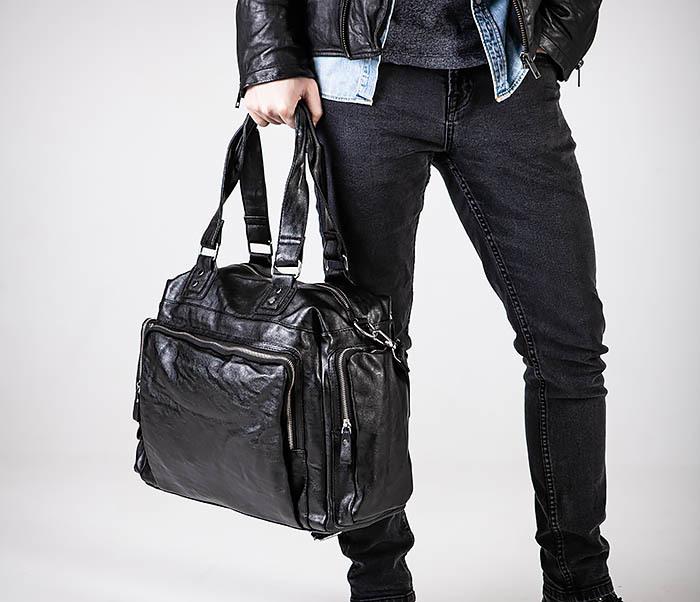 BAG547 Большая кожаная сумка для вещей с длинными ручками