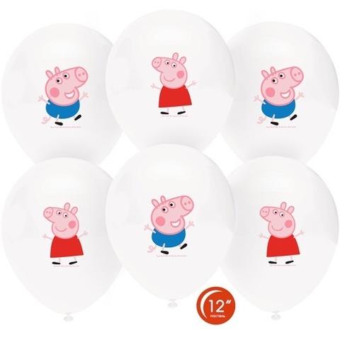 Шары белые с рисунком Свинка Пеппа и Джордж, 30 см