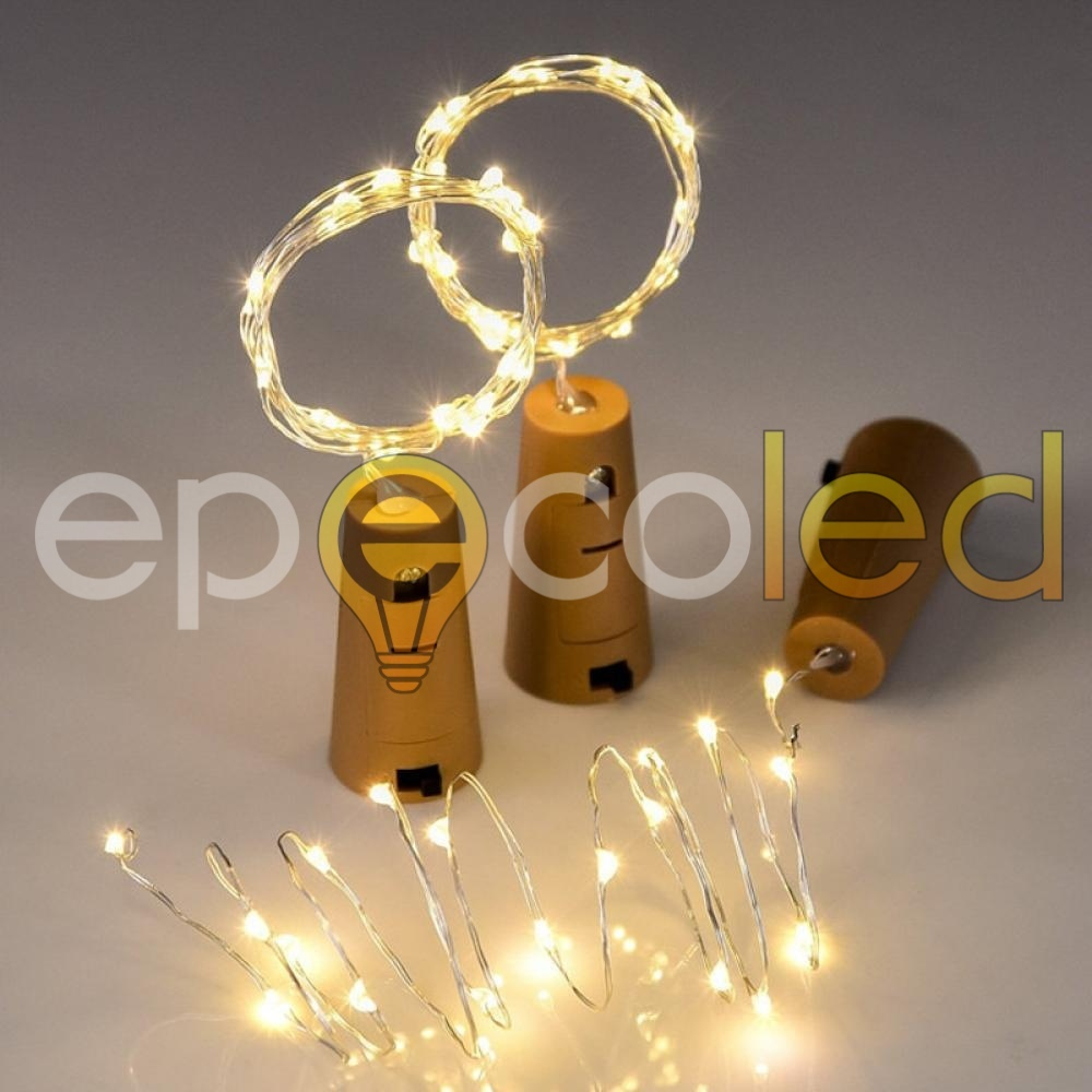 Гирлянда-пробка EPECOLED золотая (на батарейках, 2 мертра, 20LED)