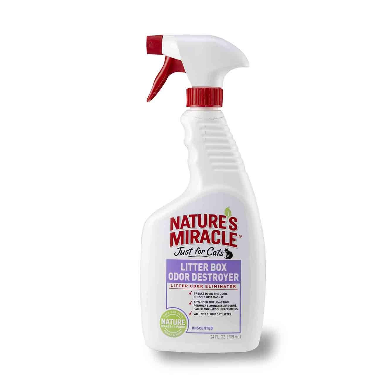 От пятен и запахов 8in1 средство для устранения запаха в кошачьем туалете NM Litter Box Odor Destroyer спрей 018065055521.jpg