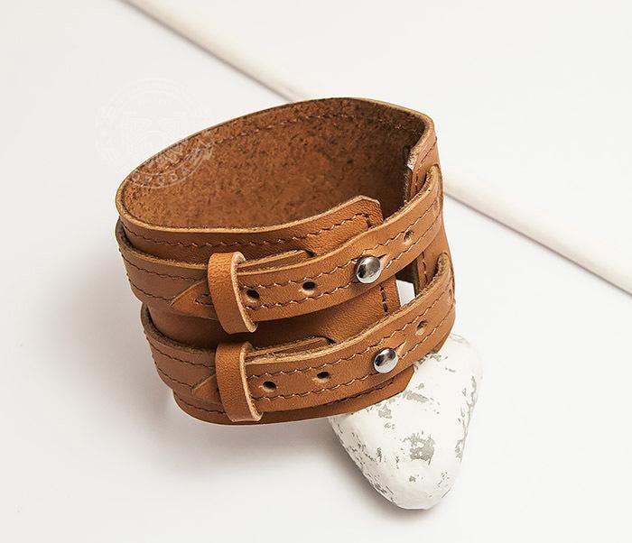 BL391-2 Широкий браслет ручной работы из натуральной кожи. «Boroda Design»
