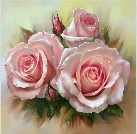 Алмазная Мозаика 5D 40x50 Розовые розы вблизи