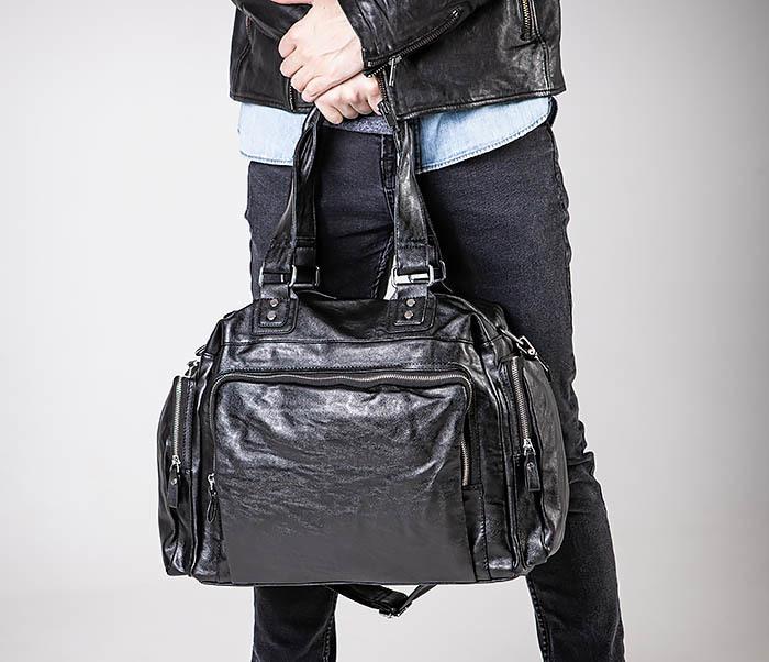 BAG547 Большая кожаная сумка для вещей с длинными ручками фото 02