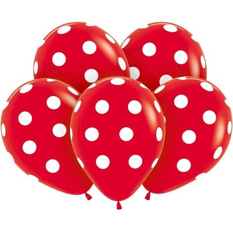 красные шары белый горошек