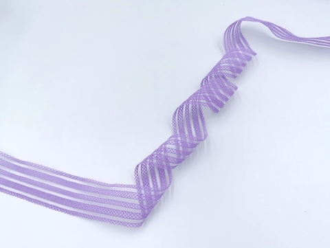 Резинка с прозрачными нейлоновыми вставками, 3,5 см, лаванда, (Арт: RNV-001), м