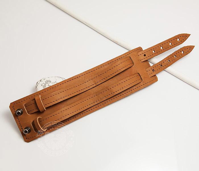 BL391-2 Широкий браслет ручной работы из натуральной кожи. «Boroda Design» фото 02