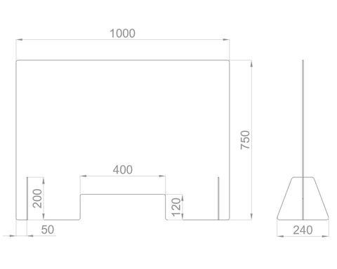 Настольный экран с окном Ш.1000 мм, В. 600/750мм