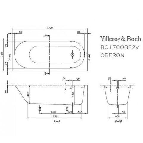 Ванна квариловая Oberon Villeroy & Boch 170x70см.  BQ177OBE2V Quaryl схема