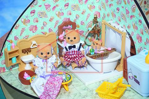 Комплект кукольные ванная комната и прачечная с семейкой хэппи фэмили