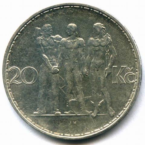 20 крон 1933. Чехословакия (Единство). Серебро XF