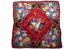 Итальянский платок из шелка бордовый с цветами 5676