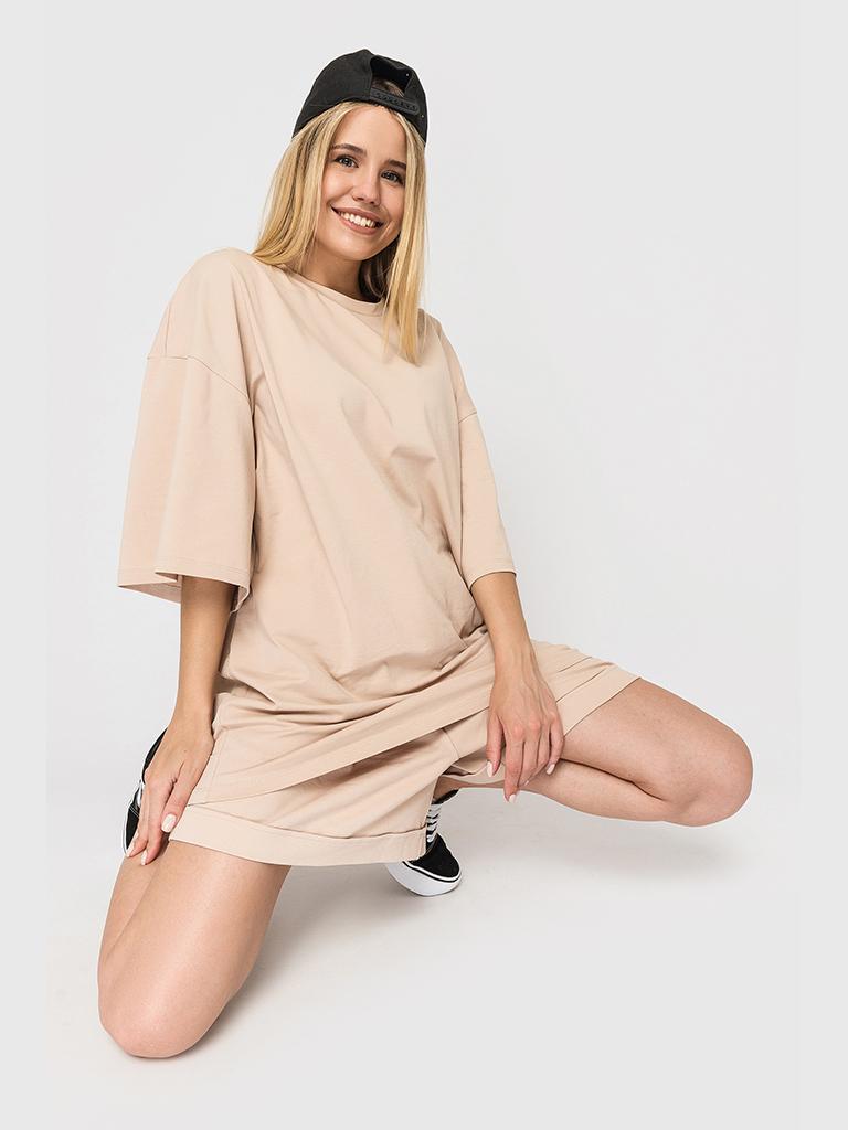 Костюм трикотажный (шорты и футболка) бежевый YOS от украинского бренда Your Own Style
