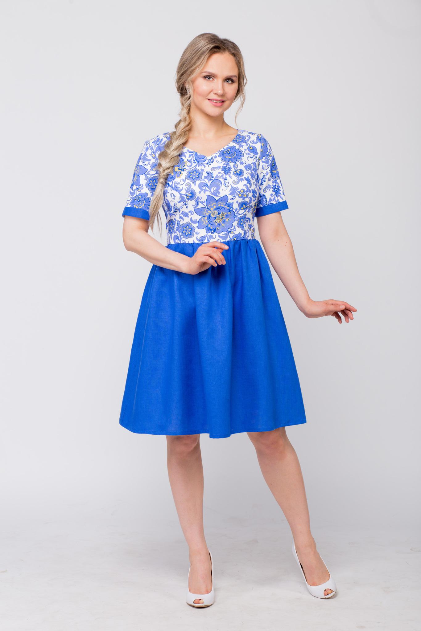 Платье льняное Расписное Гжель купить