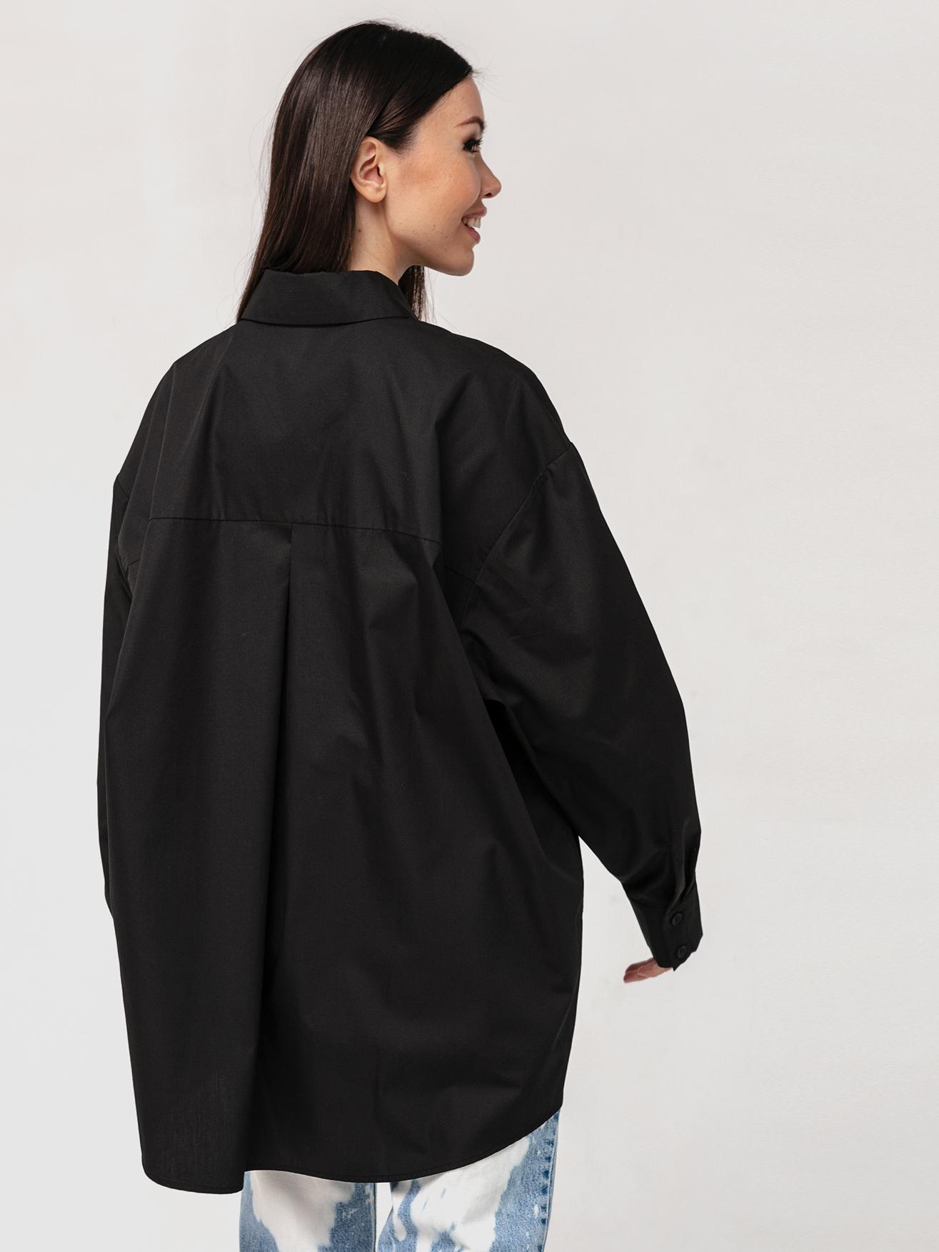 Хлопковая рубашка бойфренда черная с длинными рукавами YOS от украинского бренда Your Own Style
