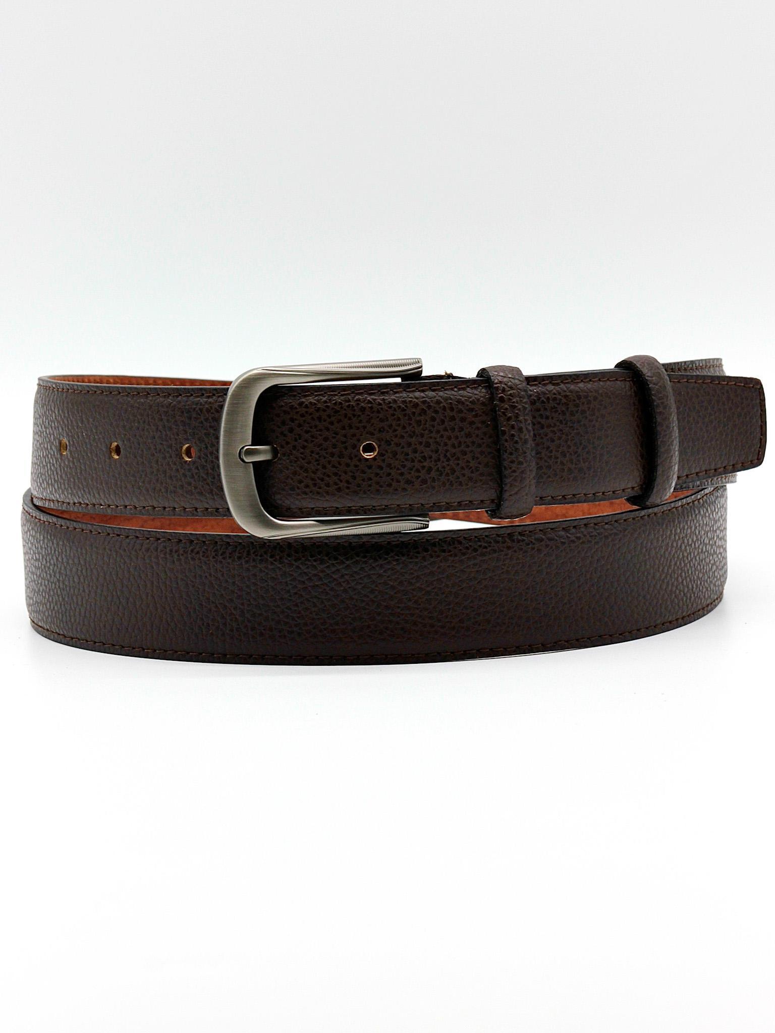 Фото мужской классический ремень брючный 35 мм коричневый из натуральной кожи Doublecity RC35-25-19
